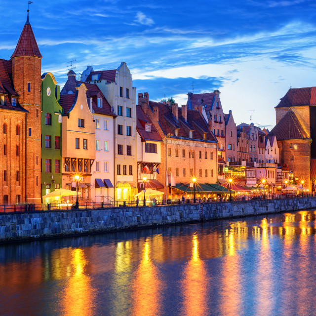 """Gothic facades facing Motlawa River in Gdansk, Poland"" stock image"