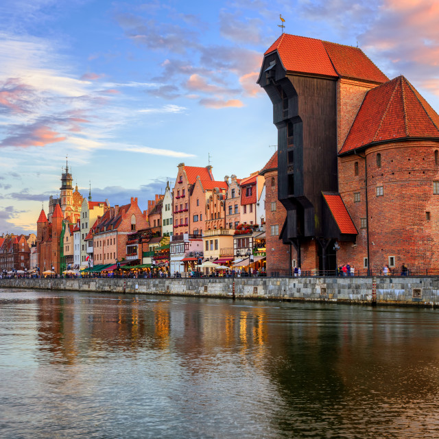 """The Crane and gothic old town on sunset, Gdansk, Poland"" stock image"