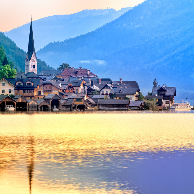 """Hallstatt town on a lake in Alps mountains, Austria"" stock image"