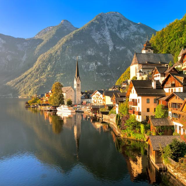 """Hallstatt alpine village on a lake in Salzkammergut, Austria"" stock image"