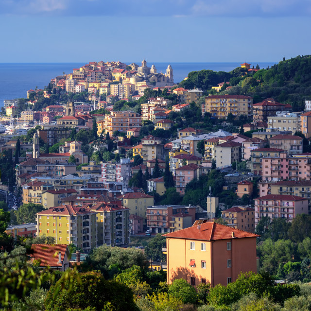 """""""Panoramic view of the old town of Imperia on italian Riviera, Liguria, Italy"""" stock image"""