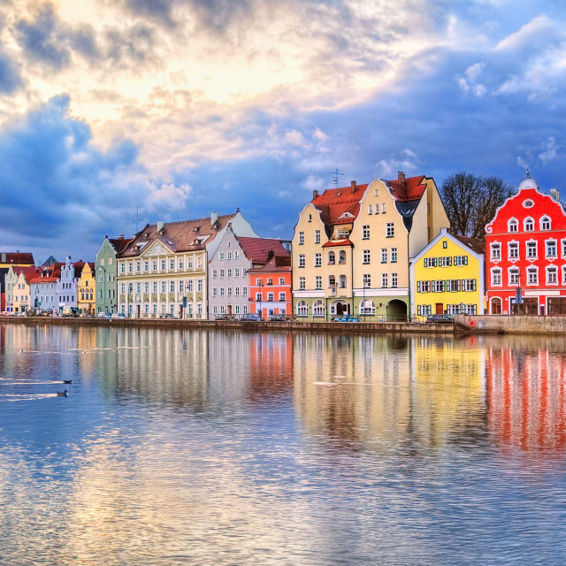 """""""Colorful gothic houses reflecting in Isar river on sunset, Landshut, Munich,..."""" stock image"""