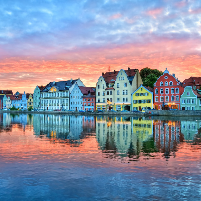 """""""Dramatic sunset over old town of Landshut on Isar river near Munich, Germany"""" stock image"""
