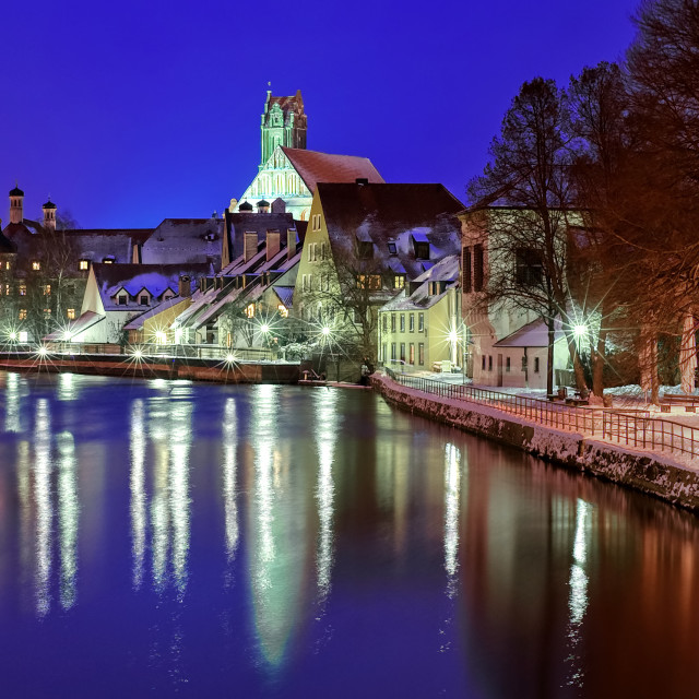 """""""Gothic town Landshut on Isar river by Munich, Bavaria, Germany"""" stock image"""