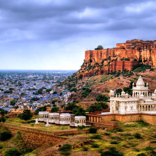 """Mehrangharh Fort and Jaswant Thada mausoleum in Jodhpur, Rajasthan, India"" stock image"