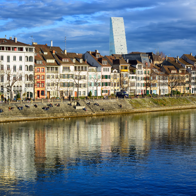 """""""Houses along the Rhine river with Roche Tower in background, Basel, Switzerland"""" stock image"""
