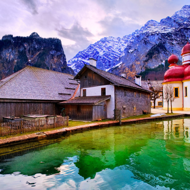 """St Bartholomew church on mountain lake Konigsee in german Alps by Munich,..."" stock image"