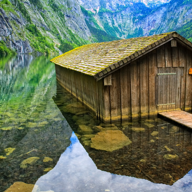 """""""Fisherman's house on Konigsee lake in the Alps mountains, Germany"""" stock image"""