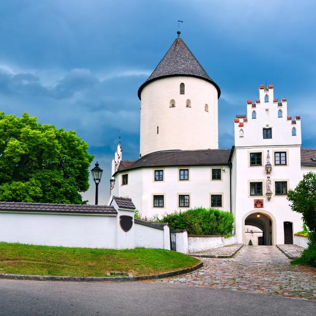 """White gothic castle Kronwinkl in Bavaria, Germany"" stock image"