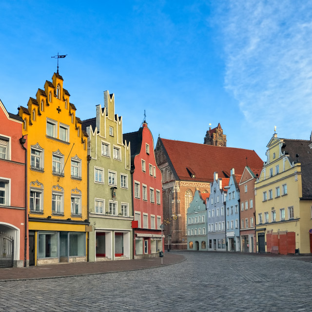 """""""Picturesque medieval gothic houses in old bavarian town by Munich, Germany"""" stock image"""
