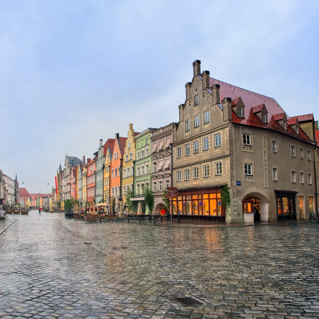 """Old gothic street in bavarian town by Munich, Germany"" stock image"