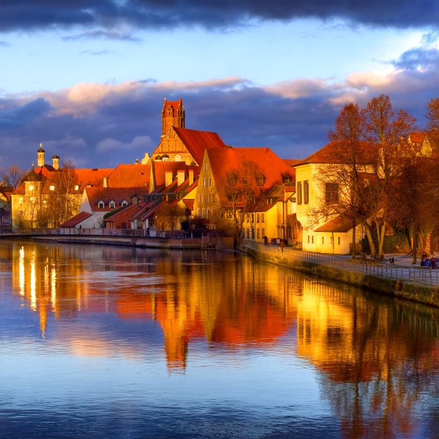 """""""Old gothic town Landshut, the former capital of Bavaria, on Isar river, by..."""" stock image"""