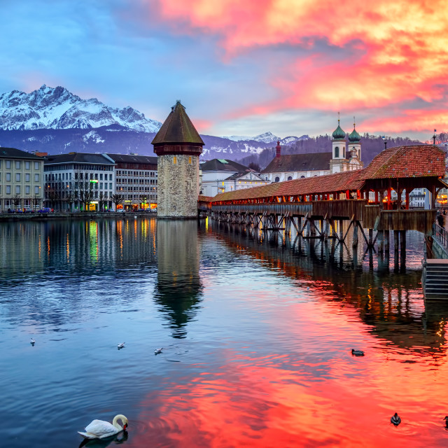 """""""Dramatic sunset over the old town of Lucerne, Switzerland"""" stock image"""