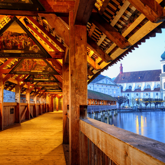 """""""View through historical wooden Chapel Bridge to the old town of Lucerne,..."""" stock image"""