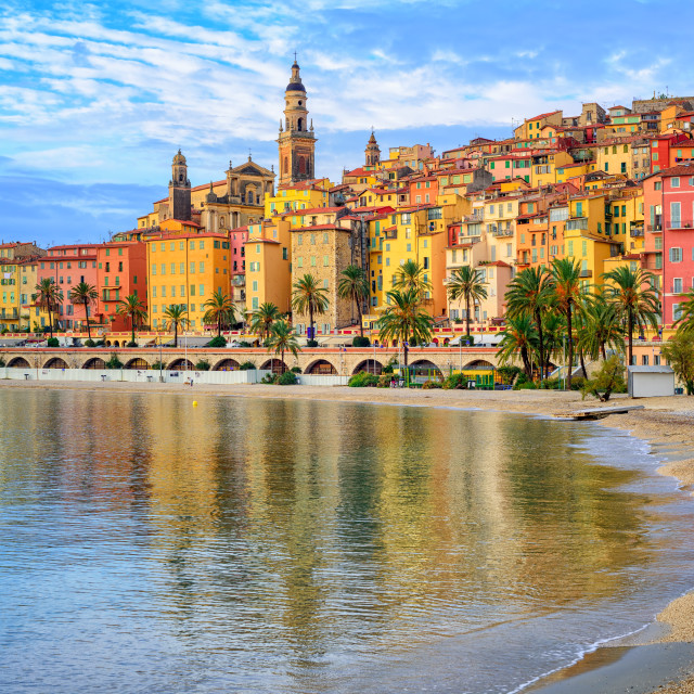 """""""Colorful medieval town Menton on Riviera, Mediterranean sea, France"""" stock image"""