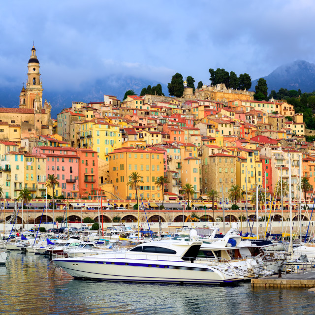 """Yachts in the marina of colorful medieval town Menton on french Riviera,..."" stock image"