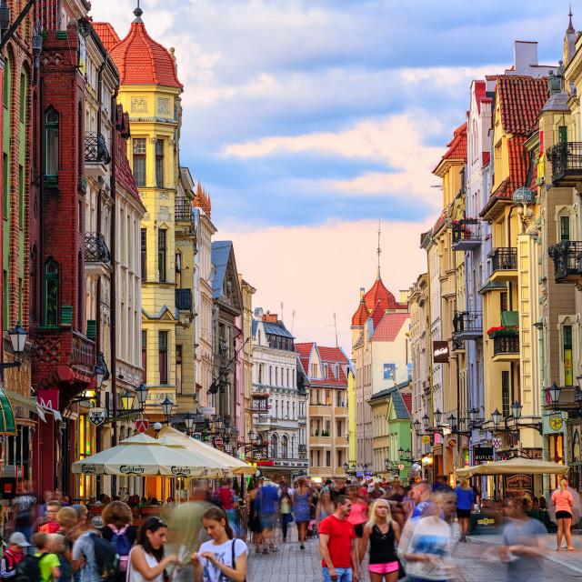 """Crowded pedestrian street in european town Torun, Poland"" stock image"