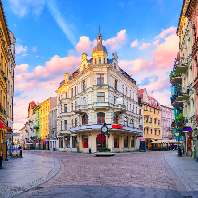 """Central pedestrian street in Torun, Poland"" stock image"