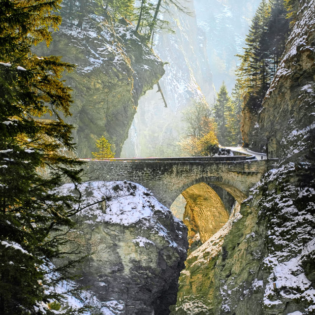 """Bridge over Viamala gorge in Swiss Alps, Switzerland"" stock image"