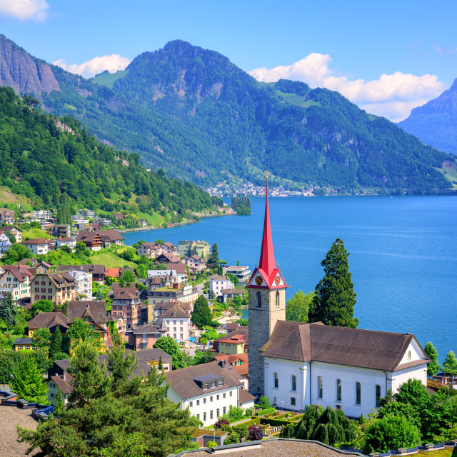 """Lake Lucerne and Alps mountains by Weggis, Switzerland"" stock image"