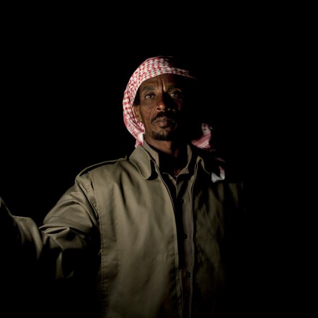 """Beduin in sakakah desert, Saudi arabia"" stock image"