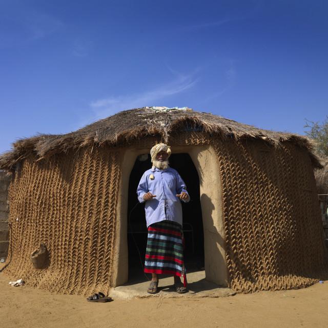 """""""Yemeni refugee in abo agros village, Tihama coast, Saudi arabia"""" stock image"""