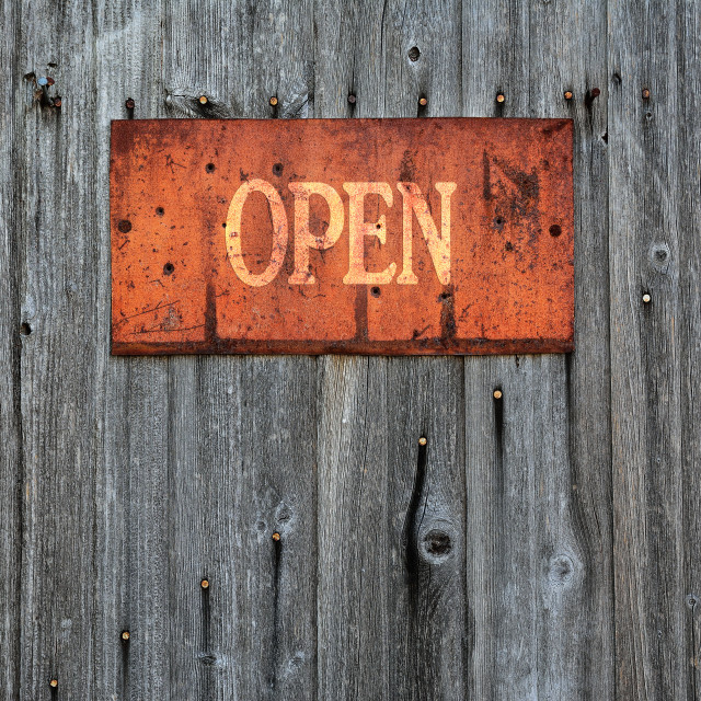 """""""Rusty metal sign with the word Open."""" stock image"""
