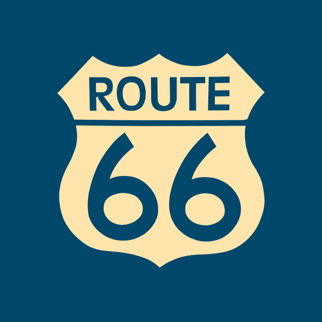 """""""Travel USA sign of Route 66 label."""" stock image"""