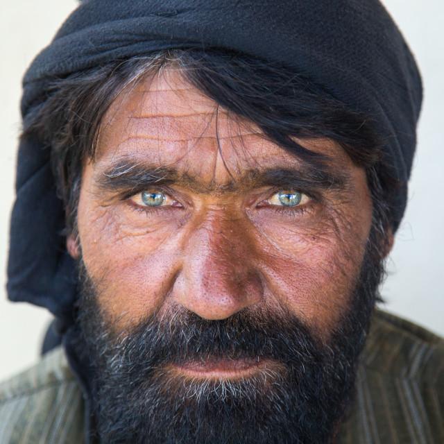 """Portrait of an afghan man with clear eyes, Badakhshan province, Khandood,..."" stock image"