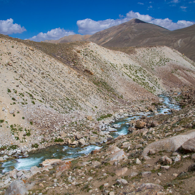 """River in the pamir mountains, Big pamir, Wakhan, Afghanistan"" stock image"