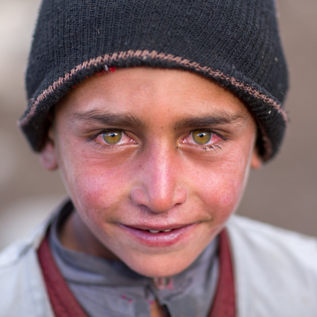 """""""Wakhi nomad boy with clear eyes, Big pamir, Wakhan, Afghanistan"""" stock image"""