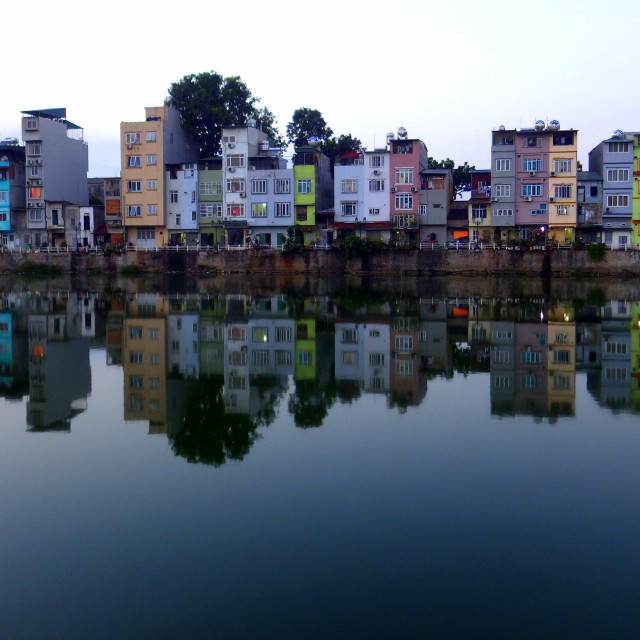 """""""Houses by the lake"""" stock image"""