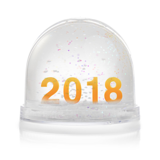 """""""Paperweight with glitter isolated on white. Happy new year 2018"""" stock image"""