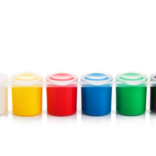 """""""Large set of gouache paint cans in a row. Colorful paints isolat"""" stock image"""