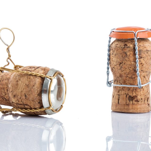 """""""Champagne cork 2018 on cap isolated on white background"""" stock image"""