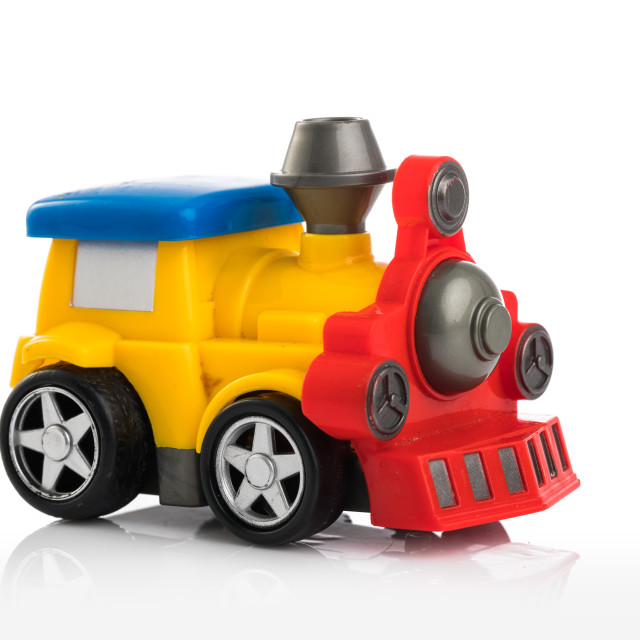 """""""Colorful plastic toy train isolated on white background"""" stock image"""