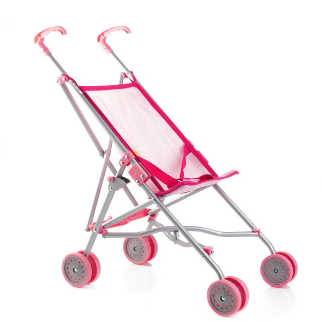 """""""Little pink baby carriage or doll stroller isolated on white"""" stock image"""