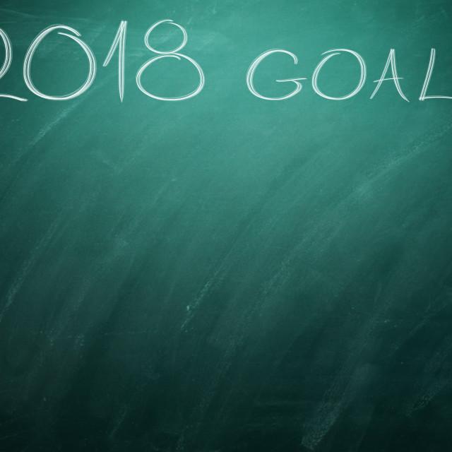 """""""2018 Goals on green board. Chalkboard"""" stock image"""