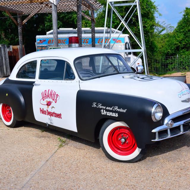 """police car on Route 66 as it passes through Missouri, USA"" stock image"