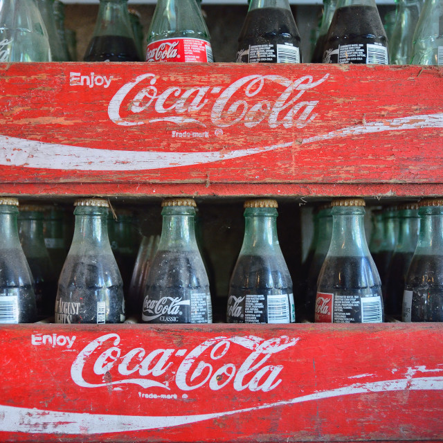 """""""Two old wooden boxes with coca cola bottles."""" stock image"""