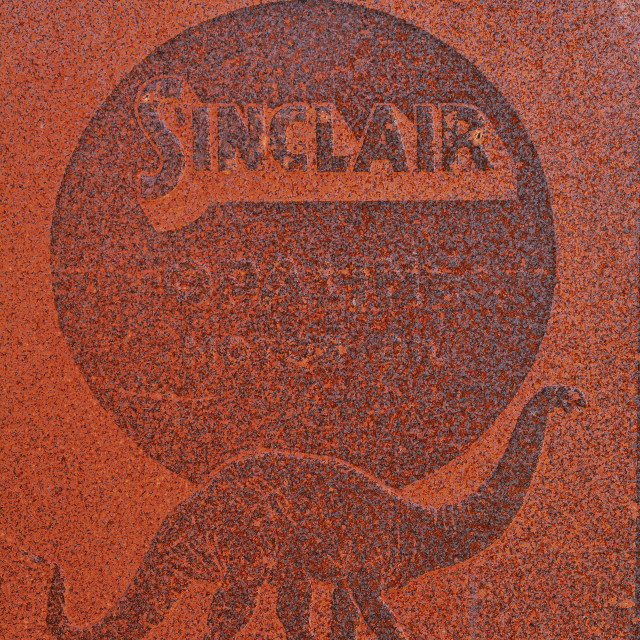 """Sinclair Oil gas station old sign and logo."" stock image"