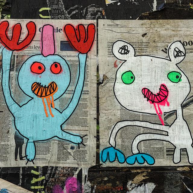 """Street art off Brick Lane in London"" stock image"