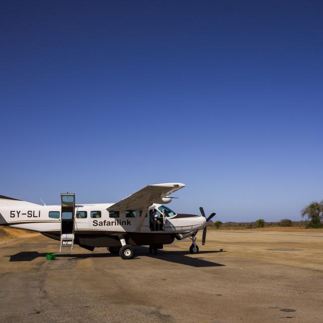 """Safarilink Plane Landing After Flight From Nairobi On Manda Airport, Lamu..."" stock image"