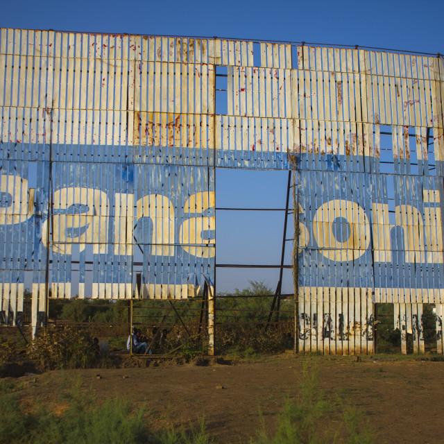 """Sudan, Khartoum State, Khartoum, old panasonic advertising"" stock image"