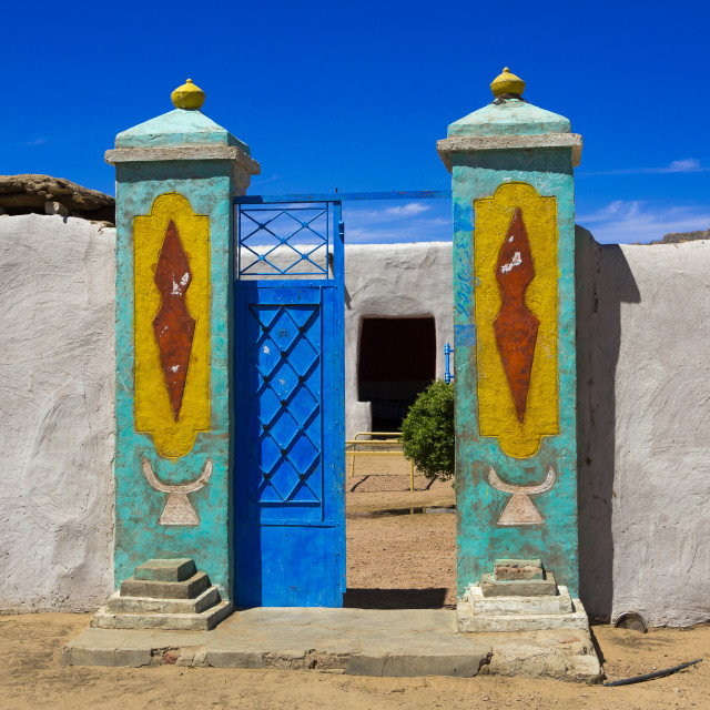 """""""Sudan, Northern Province, Gunfal, traditional nubian architecture of a doorway"""" stock image"""