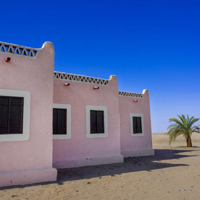 """""""Sudan, Northern Province, Delgo, traditional nubian house"""" stock image"""