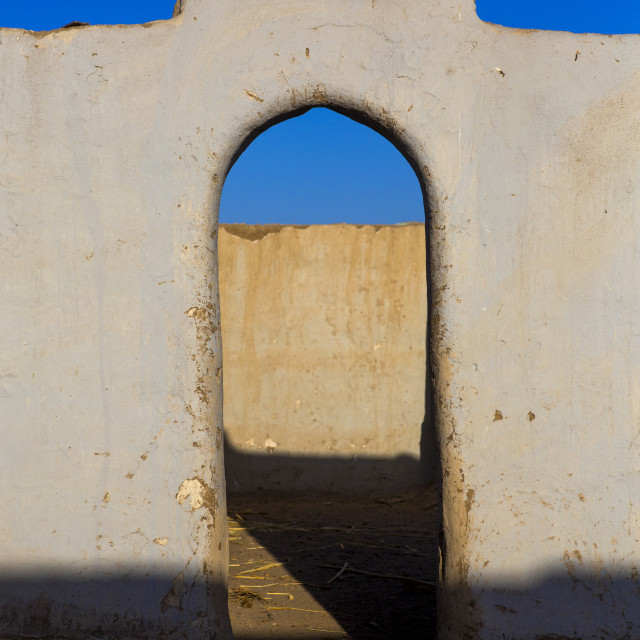 """""""Sudan, Nubia, Tumbus, gate in the courtyard of a traditional nubian house"""" stock image"""