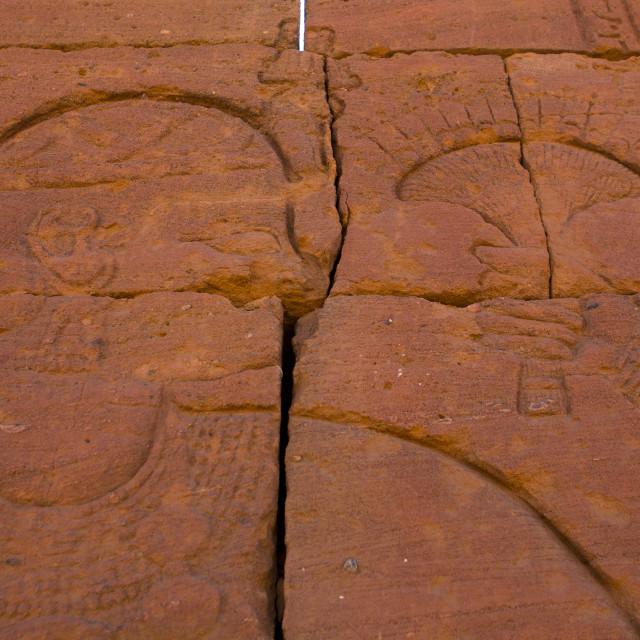 """Sudan, Nubia, Naga, human representation on lion temple"" stock image"