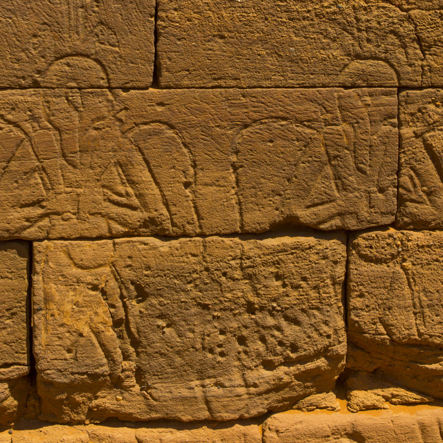 """Sudan, Nubia, Naga, human representation on amun temple"" stock image"