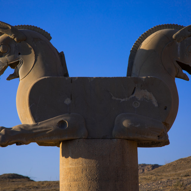"""""""Two-headed griffin in Persepolis, Fars Province, Marvdasht, Iran"""" stock image"""